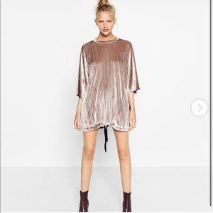 Zara velvet shirt dress